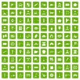 100 working professions icons set grunge green. 100 working professions icons set in grunge style green color isolated on white background vector illustration Stock Photos