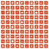 100 working professions icons set grunge orange. 100 working professions icons set in grunge style orange color isolated on white background vector illustration Royalty Free Stock Photo