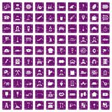 100 working professions icons set grunge purple. 100 working professions icons set in grunge style purple color isolated on white background vector illustration Stock Images