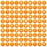 100 working professions icons set orange. 100 working professions icons set in orange circle isolated vector illustration Vector Illustration