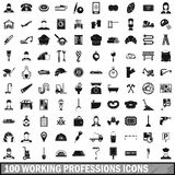 100 working professions icons set, simple style Royalty Free Stock Photo