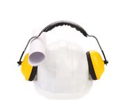 Working protective headphones on hard hat Stock Photos