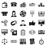 Working quarter icons set, simple style. Working quarter icons set. Simple set of 25 working quarter vector icons for web isolated on white background Royalty Free Stock Photo