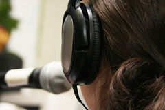 Working in a radio studio Stock Images