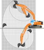 Working range of an excavator. Stock Photos