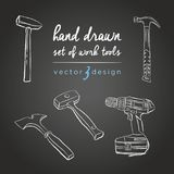 DIY tools. Tools Repair Icons for work. Vector set of hand-drawn instruments on the blackboard. Working repair manual tools, sketch vector illustration Royalty Free Stock Images