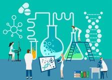 Working at research laboratorium. Vector illustration. eps vector illustration
