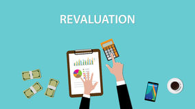 Working on revaluation  a table with littered money and calculator illustration Stock Image