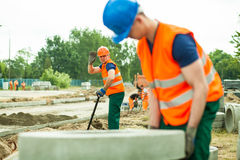 Working at road construction Stock Image