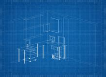 Working room Architect blueprint royalty free illustration