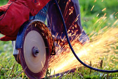 Working saw sparks. Close up Royalty Free Stock Photography