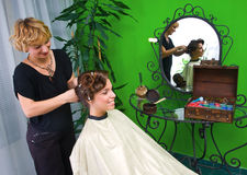 Working scene from hair salon Royalty Free Stock Images