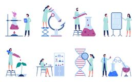 Working scientists. Professional lab research, chemistry laboratory workers and science researchers flat vector