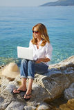 Working at the seaside Stock Images