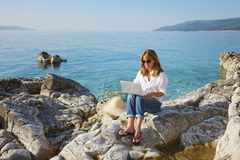 Working at the seaside Stock Photography