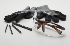 Working set, gloves, safety glasses, drill stock image