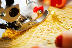Working on the sewing machine Royalty Free Stock Photography