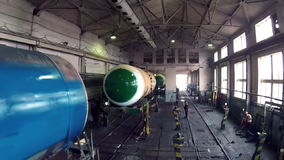 Working in the shop for repair of trains stock video footage