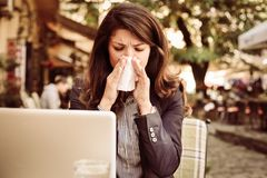 Working when sick. Outdoor. royalty free stock images