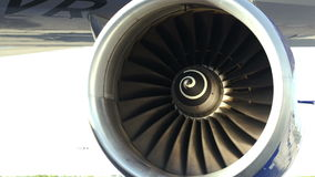 Working side engine of a plane stock footage