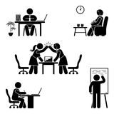 Working, sitting, talking, meeting, training, discussing vector pictogram. Stick figure office poses set. Business finance workplace support. Working, sitting vector illustration