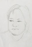 Working sketch of asia man Royalty Free Stock Image