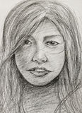 Working sketch of asia woman Royalty Free Stock Image