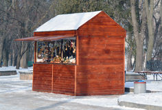 Working small wooden souvenir shop in Val park, Chernihiv Royalty Free Stock Photo