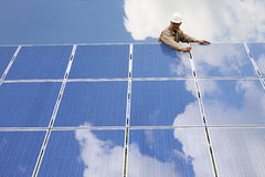 Working On Solar Panels Royalty Free Stock Photo