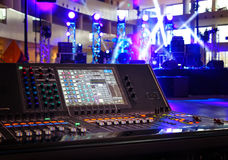 Working sound control panel on background of stage royalty free stock photos