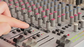Working with Sound mixing console stock video