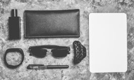 Working space. Accessories for a business woman on a concrete royalty free stock photography