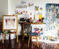 Working space Artist artworks room Stock Image