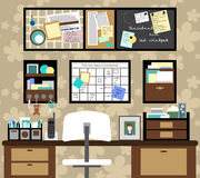 Working space with a desk, chair, planning boards and other items. Vector Stock Images