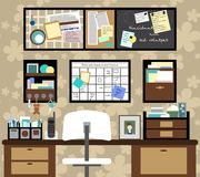 Working space with a desk, chair, planning boards and other items. Illustration Royalty Free Stock Images