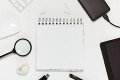 A working space. Flat, top view. royalty free stock photo