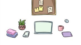 Working space interior. Cartoon style freelance home office intro banner. Objects appearing on work desk: laptop, computer, to do vector illustration