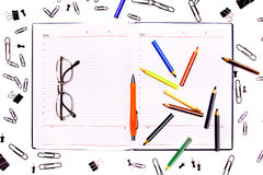 Working space and office supplies Royalty Free Stock Photo