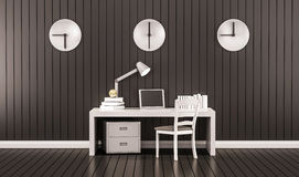 Working space, table, chair, laptop, cabinet books and golden apple with clocks on wall, 3d rendered. Working space, table, chair, laptop, cabinet books and Stock Image