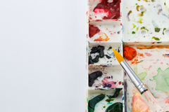 Working space of water color painting Stock Photography