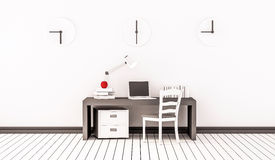 Working space, working table, chair, clocks and etc., 3d rendered. Working space, working table, chair, clocks and etc. 3d rendered Stock Photography