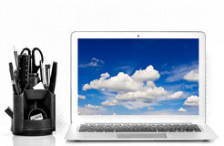 Working station with office supplies.  Workplace Mockup with pro Stock Images