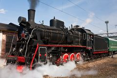 Working steam locomotive Royalty Free Stock Images