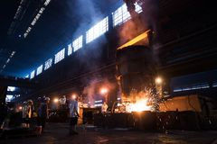 Working in a steel Factory Stock Photography