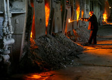 Working in the steel plant of metallurgical production Royalty Free Stock Image