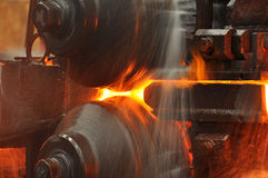 Steel Roll forming machine Stock Photo