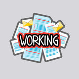 Working Sticker Social Media Network Message Badges Design Stock Photo