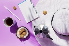 Summer working morning. coconut, purple, palm, coffee, morning, hat royalty free stock images