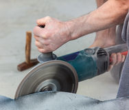 Working with stone grinder Stock Photography