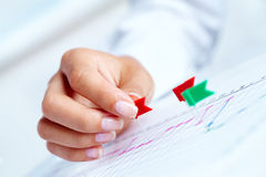 Working strategy. Close-up of female hand pricking on business graph Stock Photography